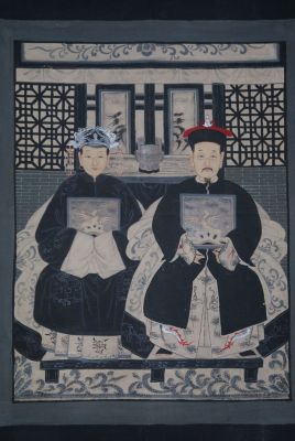 Ancêtres Chinois moderne sur toile Dynastie Qing 2 personnes