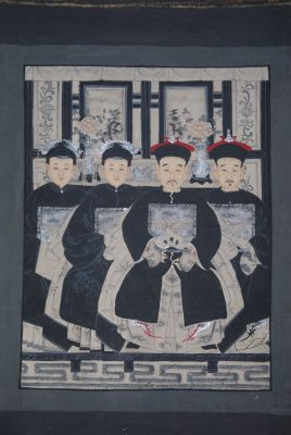 Ancêtres Chinois moderne sur toile Dynastie Qing 4 personnes