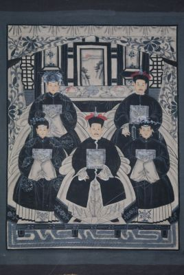Ancêtres Chinois moderne sur toile Dynastie Qing 5 personnes
