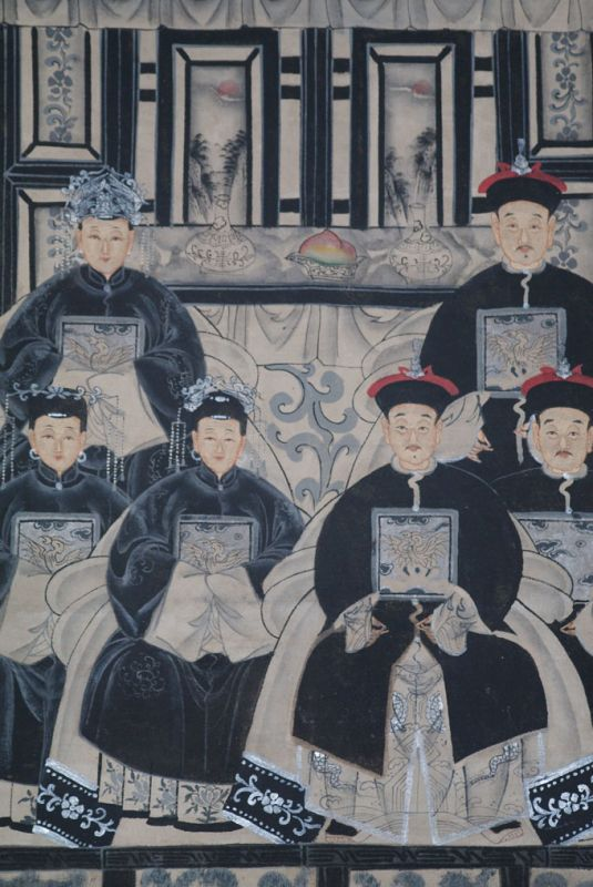 Ancêtres Chinois moderne sur toile Dynastie Qing 6 personnes 2