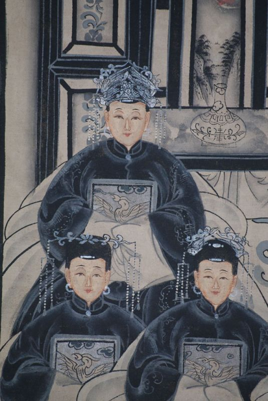 Ancêtres Chinois moderne sur toile Dynastie Qing 6 personnes 3
