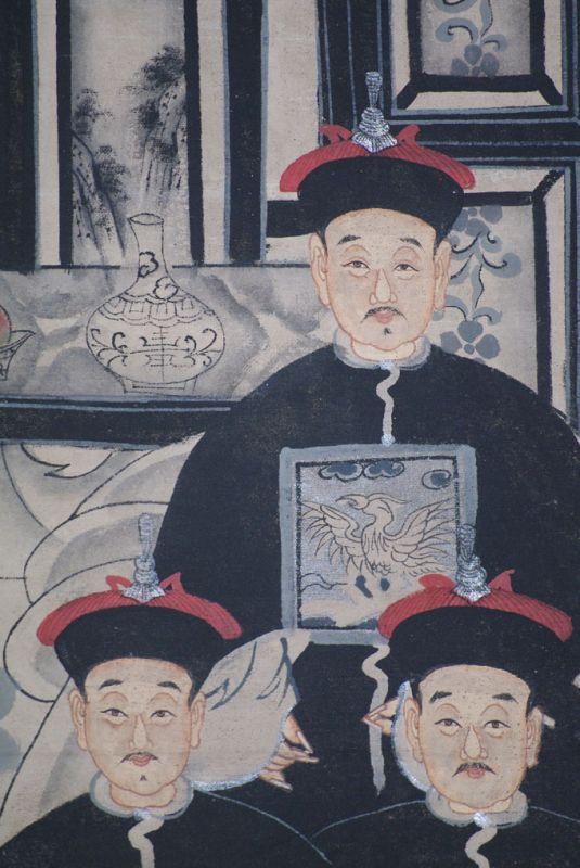 Ancêtres Chinois moderne sur toile Dynastie Qing 6 personnes 4