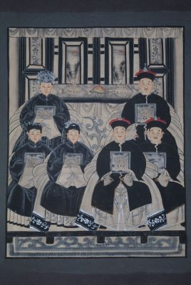 Ancêtres Chinois moderne sur toile Dynastie Qing 6 personnes