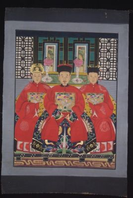 Ancêtres Chinois sur toile Dynastie Qing 3 personnes