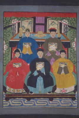 Ancêtres Chinois sur toile Dynastie Qing 5 personnes