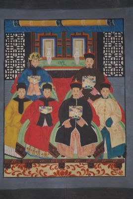 Ancêtres Chinois sur toile Dynastie Qing 6 personnes