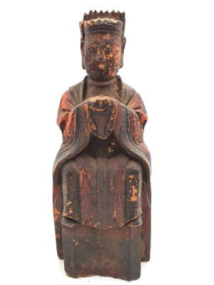 Ancienne statue votive chinoise - Ancêtres dynastie Qing 1