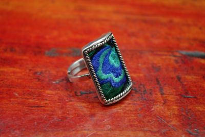 Bague Ethnique Broderie Rectangle Bleue