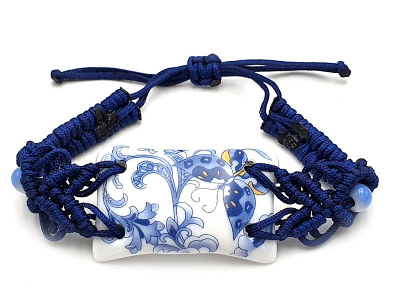 Bijoux Céramique - Collection Blanc Bleu - Bracelet - Chine - Grand Papillon