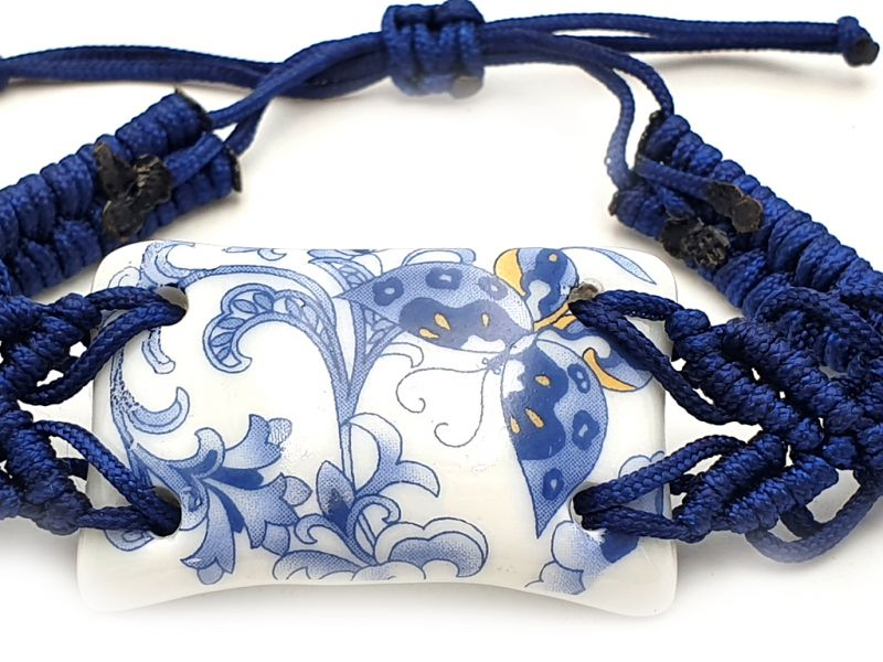Bijoux Céramique - Collection Blanc Bleu - Bracelet - Chine - Grand Papillon 3