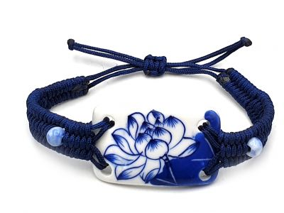 Bijoux Céramique - Collection Blanc Bleu - Bracelet - Chine - Grande fleur de lotus