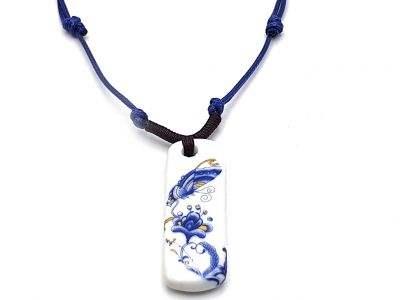 Bijoux Céramique - Collection Blanc Bleu - Collier - Chine - Papillon