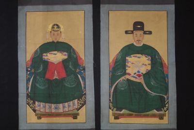 Couple d'ancêtres chinois Ming Peinture Chinoise Vert
