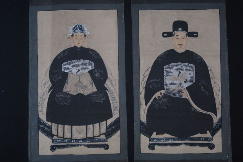 Couple d'ancêtres chinois Peinture Chinoise Morderne