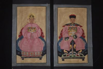 Couple d'ancêtres chinois Peinture Chinoise Rose