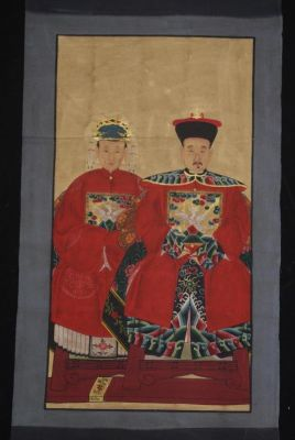 Couple d'ancêtres chinois Peinture Chinoise Rouge
