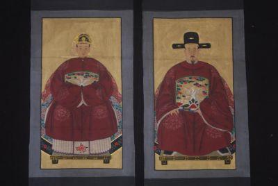 peinture de couple d 39 anc tres chinois sur toile empereur de chine. Black Bedroom Furniture Sets. Home Design Ideas