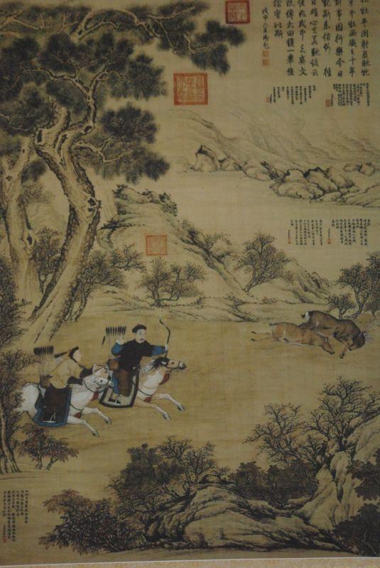Grande Scène chinoise peinture sur papier de soie