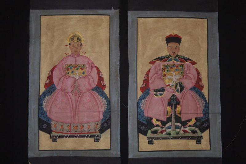 Chinese ancestors couple Painting from China Pink