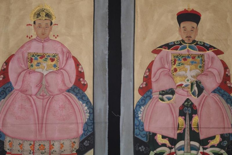 Chinese ancestors couple Painting from China Pink 2