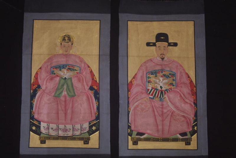 Chinese Ming ancestors couple Painting from China Pink