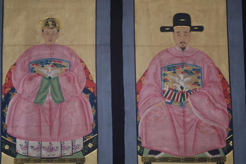 Chinese Ming ancestors couple Painting from China Pink 2