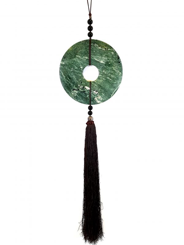 Suspended Bi Disk Silk and Jade Green and Brown