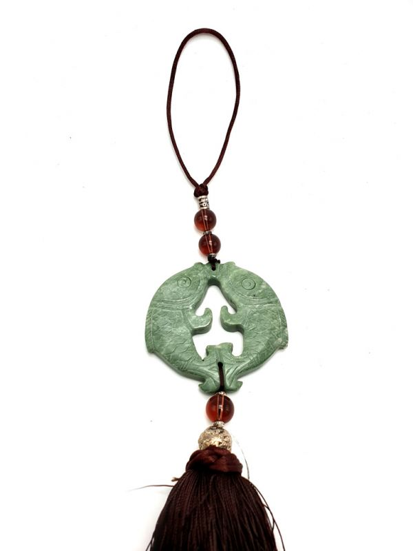 Small Suspended Bi Disk Silk and Jade Green and Brown 2