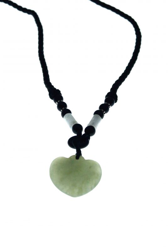 Necklace with Jade pendant - Translucent Green Heart 2