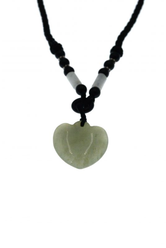 Necklace with Jade pendant - Translucent Green Heart 3