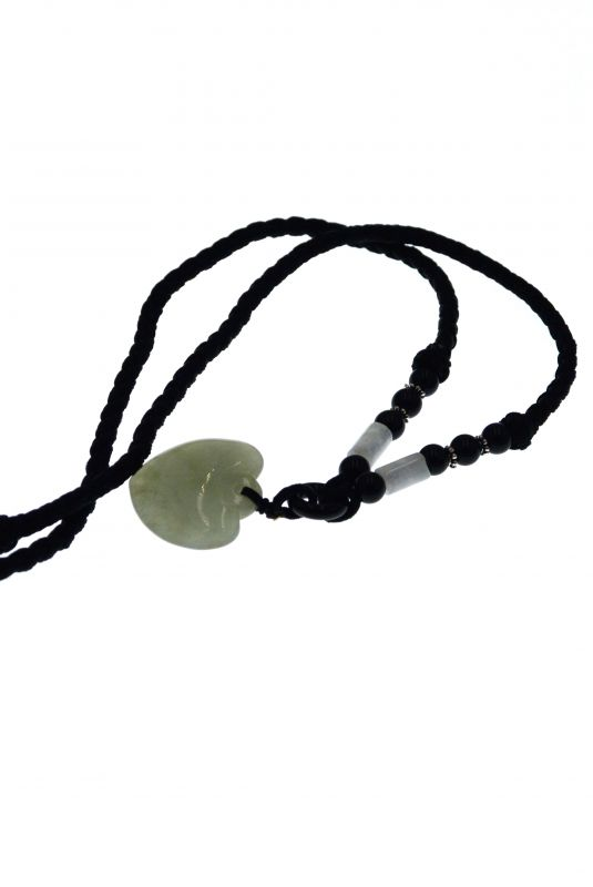 Necklace with Jade pendant - Translucent Green Heart 4