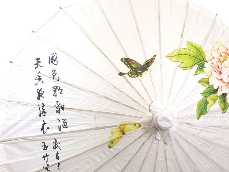 Chinese Wood and Paper Parasol - Flowers and butterflies 2