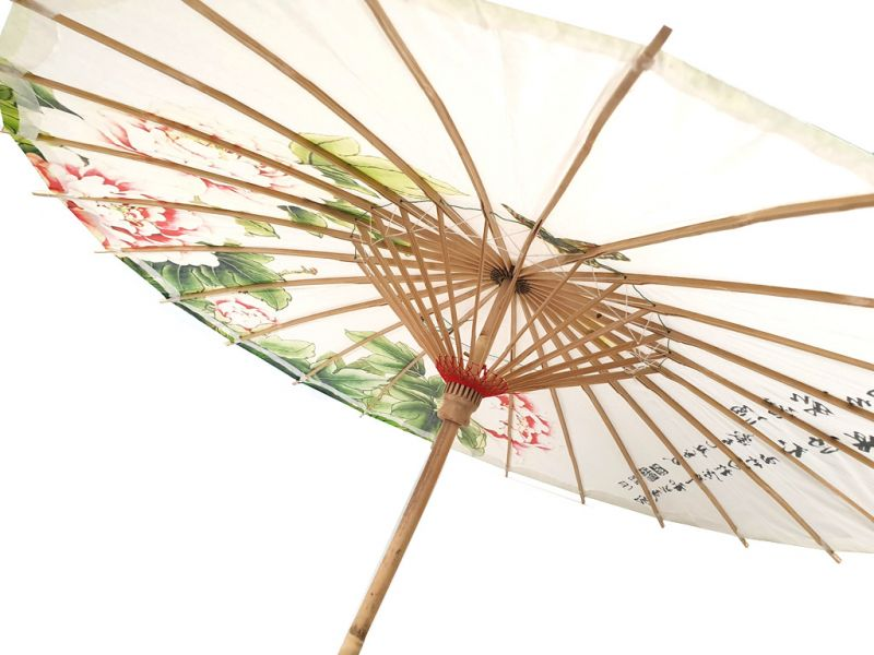 Chinese Wood and Paper Parasol - Flowers and butterflies 3