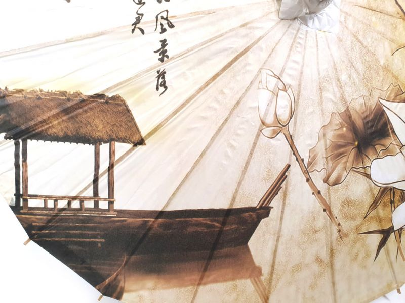 Chinese Wood and Paper Parasol - Lotus and boat 2