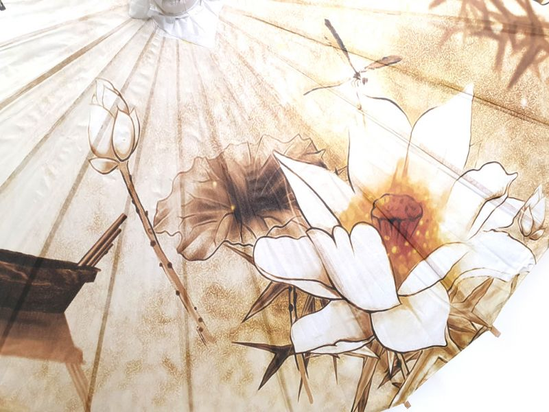 Chinese Wood and Paper Parasol - Lotus and boat 3
