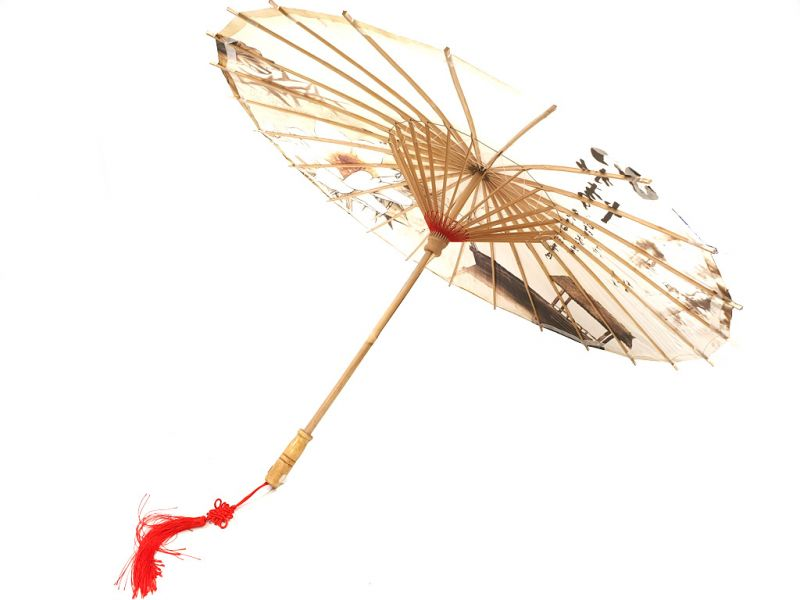 Chinese Wood and Paper Parasol - Lotus and boat 4
