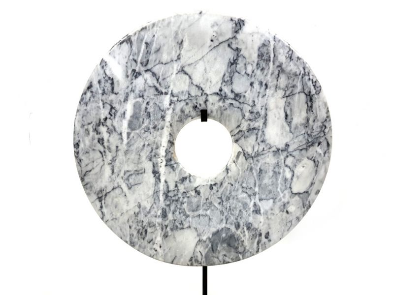 Large Chinese Bi in Marble 30cm White and gray