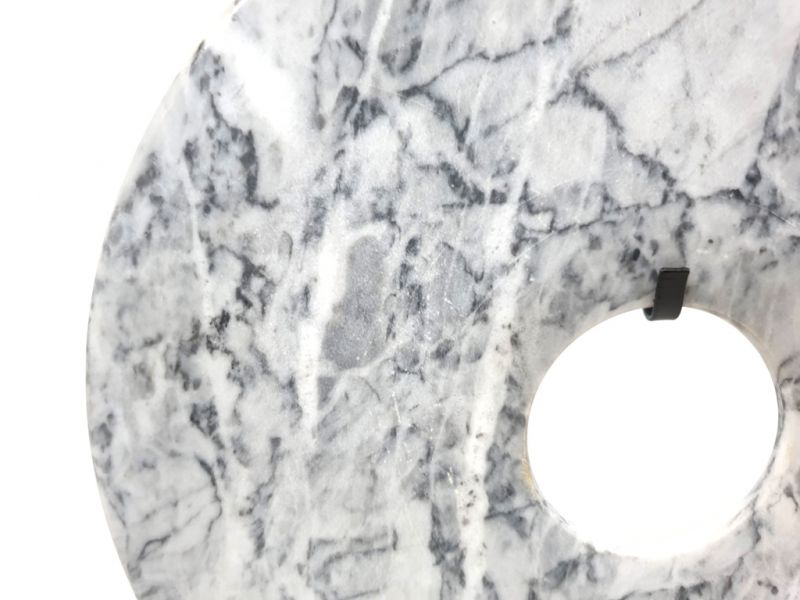 Large Chinese Bi in Marble 30cm White and gray 3