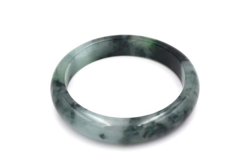 Jade Bracelet Bangle Class A White and Green spotted