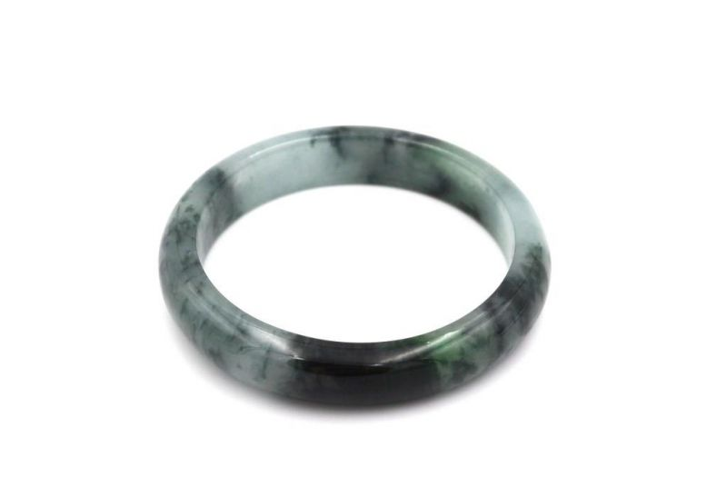 Jade Bracelet Bangle Class A White and Green spotted 2