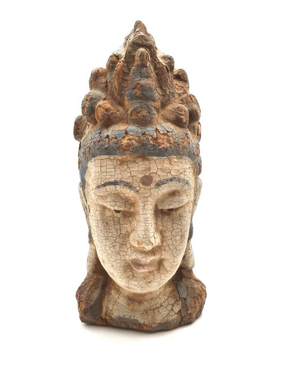 Wooden Small Statue - Head of a Guanyin goddess 27cm