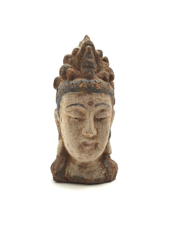 Wooden Small Statue - Head of a Guanyin goddess 27cm 2