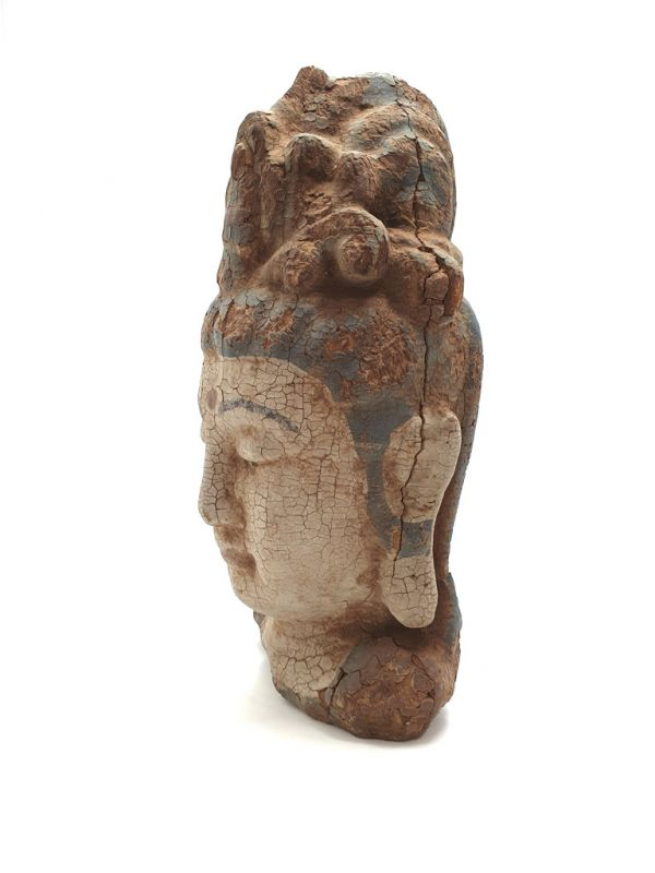 Wooden Small Statue - Head of a Guanyin goddess 27cm 3
