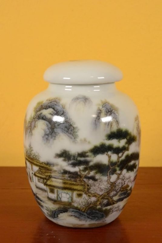 Small Chinese Porcelain Potiche - Colorful - Landscape