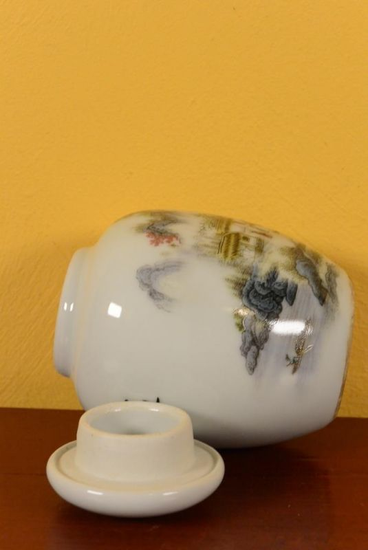Small Chinese Porcelain Potiche - Colorful - Landscape 4