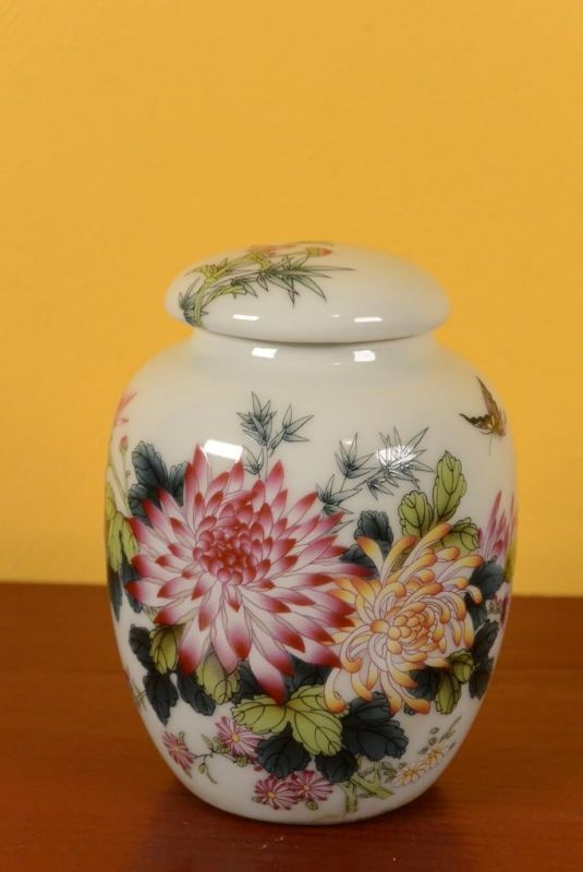 Small Chinese Porcelain Potiche - Colorful - Flowers