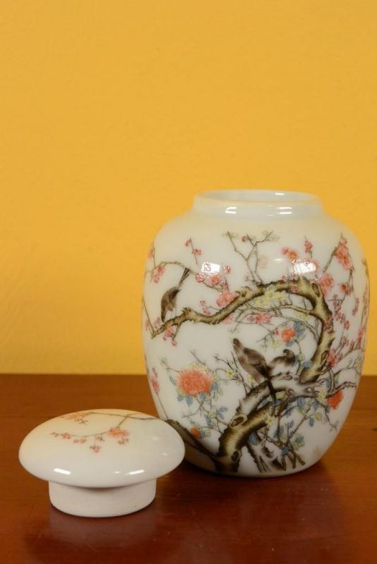 Small Porcelain Potiche - Colorful - Birds on the cherry tree 3