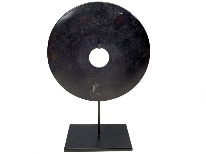 Large Chinese Bi in Jade 25cm - Black 2