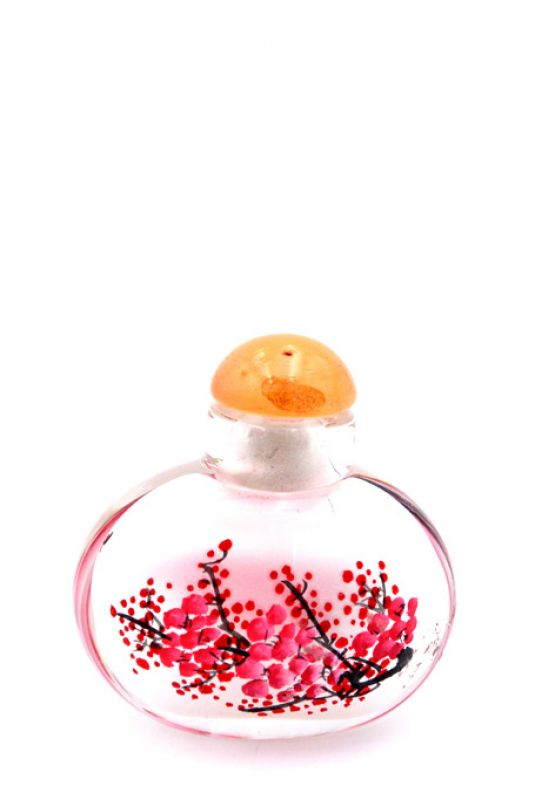 Small Glass Snuff Bottle - Chinese Arist - The cherry tree
