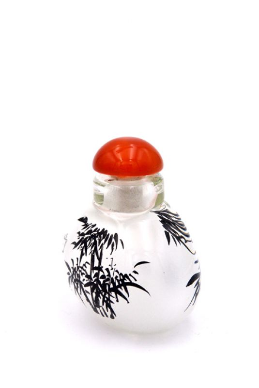 Small Glass Snuff Bottle - Chinese Arist - Bamboo 2